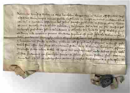 1348 Medieval Vellum Manuscript Legal Document