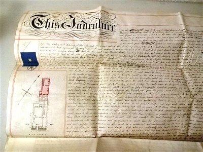 1878 Vellum Deed Algernon Marsden Seal Plan