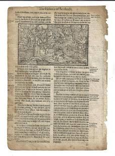 1577 Leaf Holinshed Scotland Burning of City