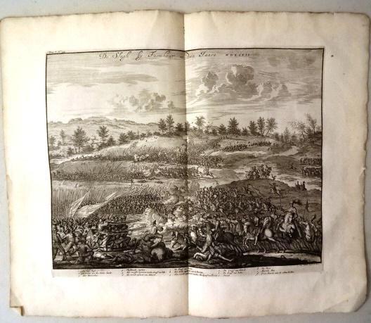1730 Large Engraving of Battle Netherlands
