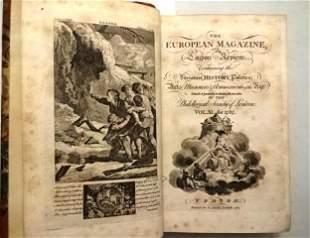 1787 Volume of European Magazine Engravings Rare