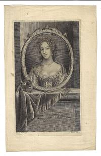 1718 Engraving Marie Eleonor D'Este by Audran