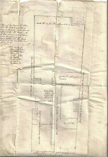 1731 Manuscript Plan of Two Houses Barbican London