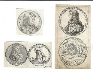 18th C Three Engravings of Coins Medals