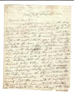 1835 Letter Reformed Dutch Church New York