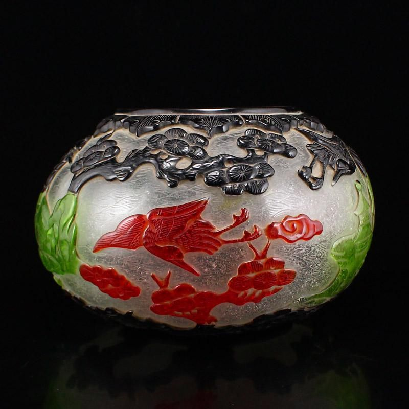 Qing Agate Low Relief Fortune Bat & Gourd Snuff Bottle