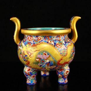 Gilt Gold Famille Rose Enamel Porcelain Incense Burner