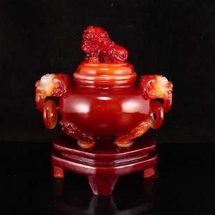 Red Agate Lucky Lion Double Rings Incense Burner