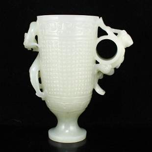 Superb Chinese White Hetian Jade Chi Dragon Wine Cup