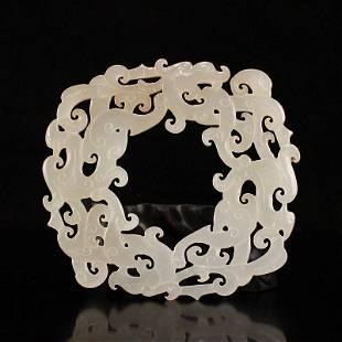 Openwork Vintage Chinese Hetian Jade Phoenix Pendant
