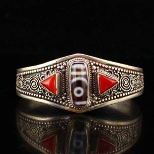 Old Pure Silver Inlay DZI Agate & Red Coral Bracelet