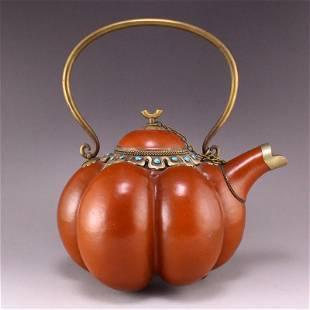 Vintage Chinese Gourd Inlay Gem Handle Teapot