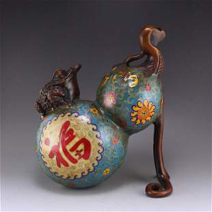 Red Copper Cloisonne Fortune Toad & Gourd Statue