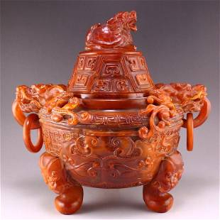 Qing Dy Ox Horn Double Dragon Rings Incense Burner