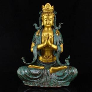 Gilt Gold Turquoise Glaze Porcelain Kwan-yin Statue