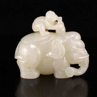 Superb Natural Hetian Jade Elephant & Urchin Statue