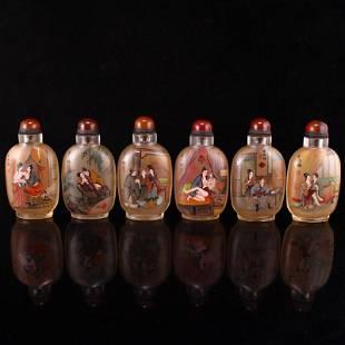 Set 6 Peking Glass Inside Painting Figure Snuff Bottle