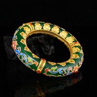 56 MM Gilt Gold Enamel Inlay Gem & Green Jade Bracelet