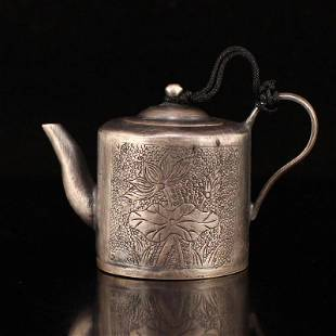 Qing Dy Pure Silver Lotus Flower Design Small Teapot