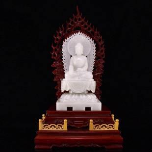 Chinese Qing Dy Hetian Jade Sakyamuni Buddha Statue