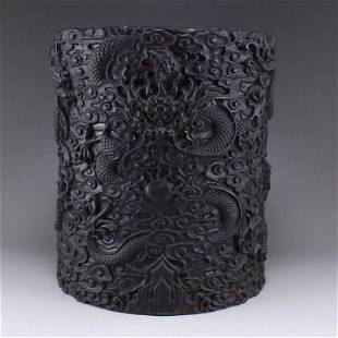Zitan Wood Low Relief Clouds Dragon Design Brush Pot