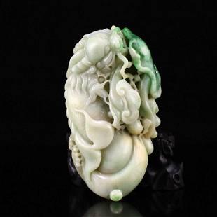 Vintage Natural Jadeite Carved Fortune Dragon Fish