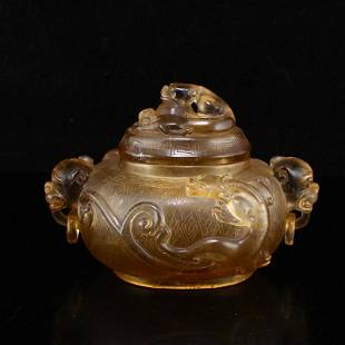 Chinese Qing Dy Crystal Chi Dragon Double Rings Burner