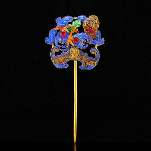 Vintage Chinese Gold Wires Enamel Inlay Ruby Hairpin