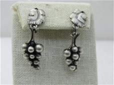 Vintage Sterling George Jensen Grapes Earrings, No. 40,