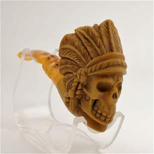 Indian Warrior Chief Skull,Hand carved Meerschaum Pipe