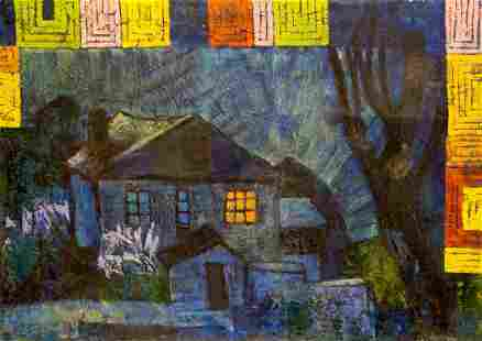 Oil painting Night landscape