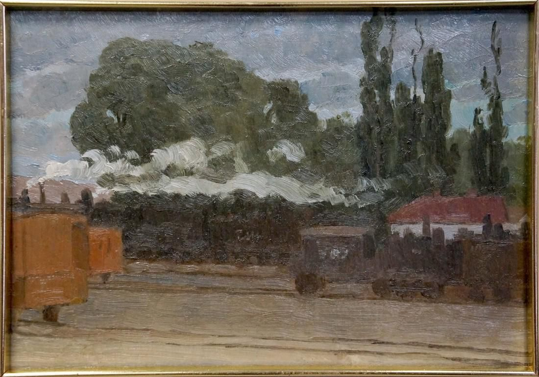 Oil painting At the station