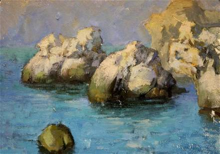 Oil painting Cliffs at sea
