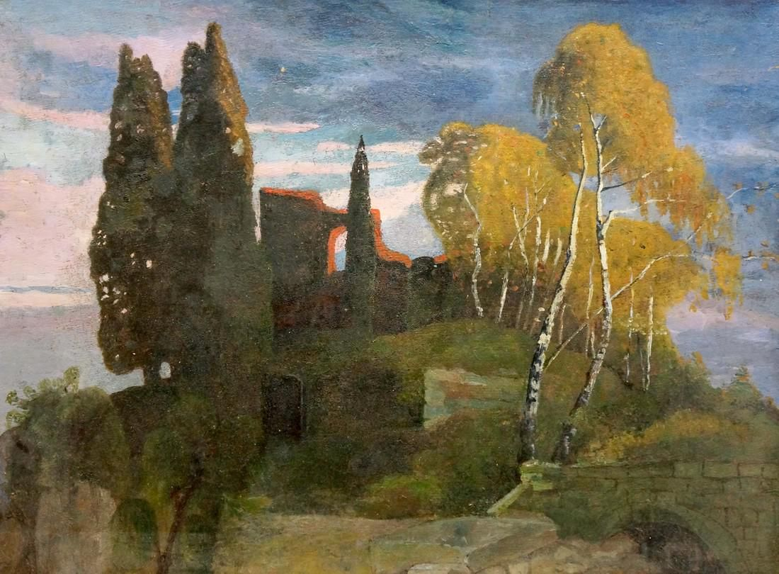 Oil painting Landscape with a palace