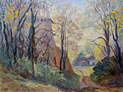 Oil painting Autumn has come