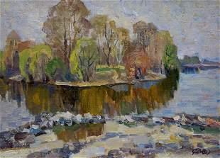 Oil painting River landscape