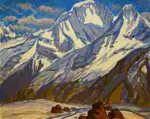 Tempera painting Mountain landscape