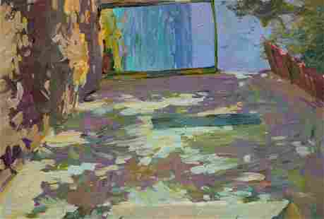 Oil painting Courtyard landscape