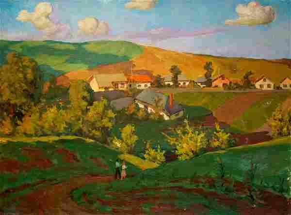 Oil painting Rural landscape