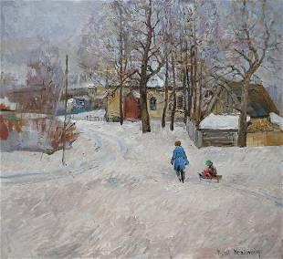 Oil painting Winter landscape Eremin Boris