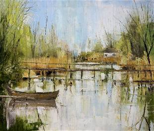 Oil painting Bridge to the village Merkulov Valentin