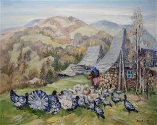 Oil painting Carpathian landscape Limar Anatoly