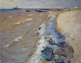 Oil painting By the shore