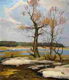 Oil painting End of winter Zhugan Vladimir