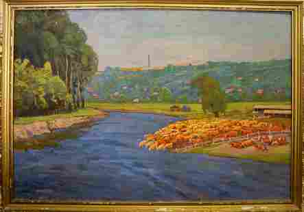 Oil painting Cows by the river