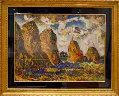 Tempera painting Summer day Filatov Vladimir