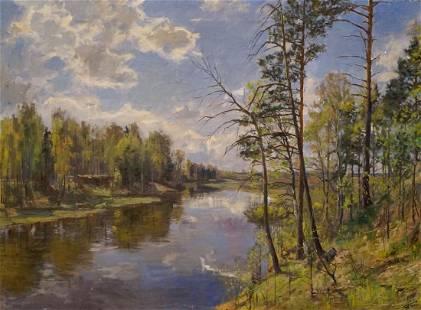 Oil painting Forest landscape Petrov Boris Stepanovich