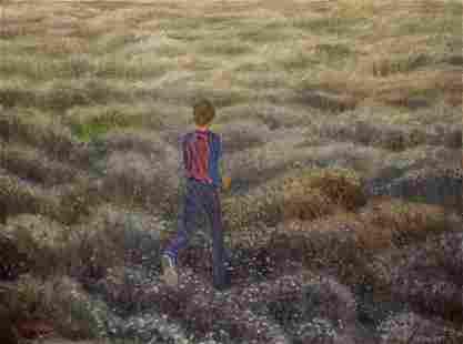 Oil painting Boy in the field Chernikov Nikolay