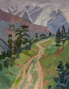 Oil painting Road to the mountains Chernikov Nikolay