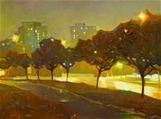 Oil painting Night city streets T.Tpokhomtuk
